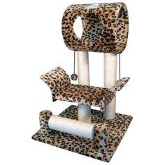 Leopard Print Cat Tree Condo House Scratcher Luxury Faux Fur Pet Toy Furniture