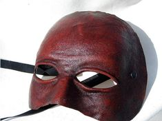 neutral mask androgynous red leather costume by MaschereFabula