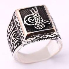 Osmanlı Tuğralı, gümüş erkek yüzüğü