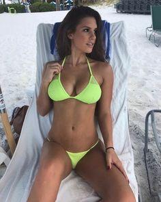 Cute woman with nice breasts at the beach in seductive sexy bikini swimwear. Bikini Babes, Sexy Bikini, The Bikini, Bikini Girls, Bikini Set, Daily Bikini, Mädchen In Bikinis, Bikini Swimwear, Swimsuits