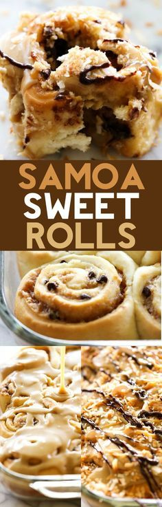 Samoa Sweet Rolls - These sweet rolls are made with a super simple cake-mix dough and have a delicious brown sugar toasted coconut filling and mini chocolate chips. They are topped with THE BEST caramel frosting, garnished with toasted coconut and drizzled with caramel and chocolate. They are unbelievably good!
