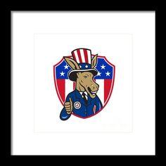 Democrat Donkey Mascot Thumbs Up Flag Cartoon Framed Print By Aloysius Patrimonio