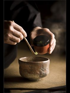 "Tea Ceremony(茶道), a traditional Japanese culture. He's preparing ""matcha"" green tea made from ground tea leaves."
