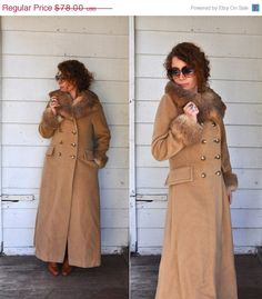 1 WEEK SALE 70s Camel Brown Wool Long Coat Fur by LaDeaDeiSogni, $66.30