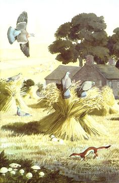 "Oats in stooks. (from vintage English ""Ladybird"" storybooks)"