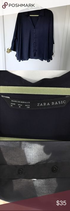 Zara Batwing Blouse Zara Batwing Blouse // Size M, NWOT. Used once. Hole next to the button is not noticeable and can be easily sewn. Rich gorgeous navy silk fabric. Zara Tops Blouses