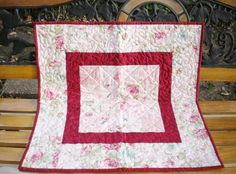 Quilted Table Topper Shabby Cottage by SharleesQuiltCottage