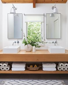 contemporary bathroom Beautiful use of greenery to freshen up the space! Thank you Senalee Kapelevich of SVK Interior Design for using our blustone basins in your contemporary bathroom design! Minimalist Bathroom Furniture, Modern Bathroom, Small Bathroom, Dyi Bathroom, Bathroom Mirrors, Modern Mirrors, Concrete Bathroom, White Bathrooms, Luxury Bathrooms