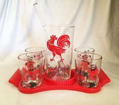 """$75 - Retro BAR SET Vintage Red and Black Barware """"Cocktails for Four"""", Mid Century Modern Vintage Barware, Whisky Cocktail Glasses with Pitcher by . . . CoolOldStuffForSale on Etsy #whiskycocktails"""