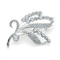 silver crystal leaf ladies womens fashion dress brooch | 14590 | £11.50