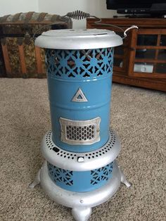 Antique Turquoise Blue Enameled Perfection Oil Heater Rare
