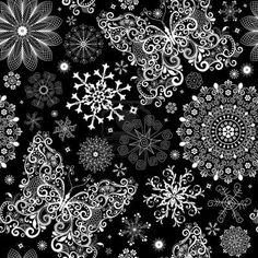 Navidad patrón de encaje negro transparente con copos de nieve blancos clásicos y mariposas Foto de archivo