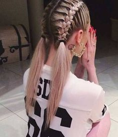Double Dutch Braids into Two Ponytails  #Ponytail #Ponytailhairstyles #Hairstyles #Hairstyleideas #Braids