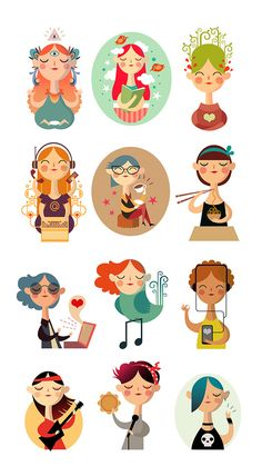 Character Illustration / Stickers by Ana Varela, via Behance People Illustration, Flat Illustration, Character Illustration, Graphic Design Illustration, Digital Illustration, Illustration Essay, Character Design Inspiration, Motion Design, Game Design