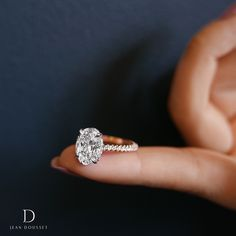 LUNA Solitaire engagement ring with a 3.00+ Carats Oval Cut diamond, exclusively by Jean Dousset.