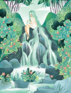 The waterfall spirit by katherineksketches Aesthetic Art, Cute Drawings, Cute Art, Art Inspo, Amazing Art, Watercolor Art, Character Art, Illustration Art, Animal Illustrations