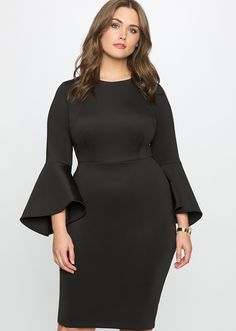 18 Cheap Holiday Party Dresses | NYE & Christmas Outfit Idea 2016 | Studio Flare Sleeve Dress, $99.90; at Eloquii | Plus Size