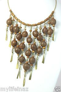 African Handcrafted Jewelry Brass Wood Bead Drop Style Necklace