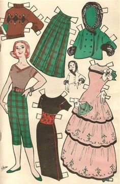 Vintage style paper dolls via Paula's Palace of AltAred Art