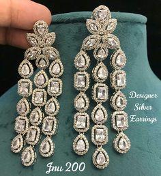 No photo description available. Diamond Jewelry, Diamond Earrings, Indian Jewelry, Bridal Jewelry, Bling, Product Description, Jewels, Sparkles, Antique Jewelry