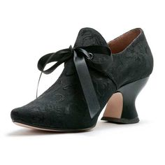 Black Pompadour French Court Shoes circa 1680-1740 - reproduced by American Duchess