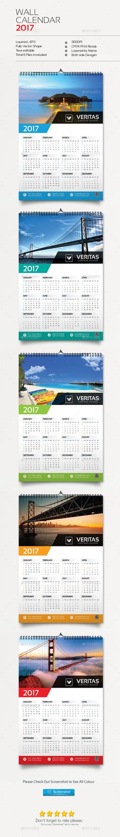 1 Page Wall Calendar 2017 | Calendar 2017, Wall Calendars And Design