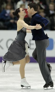 Tessa Virtue and Scott Moir of Canada skate their short program in the dance competition at the 2013 World Figure Skating Championships in London, Ontario, March 14, 2013.