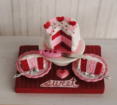 Miniature Valentine Cake With Red And Pink by LittleThingsByAnna, $24.50