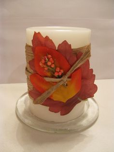 DIY Easy Fall Candle Decorating Tutorial