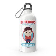 Termo - El termo del mejor tecnólogo, encuentra este producto en nuestra tienda online y personalízalo con un nombre. Water Bottle, Drinks, Social, Priest, Carton Box, Store, Crates, Musica, Working Man