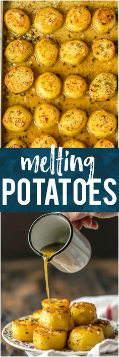 These OVEN ROASTED MELTING POTATOES are the ultimate side dish. Practically dripping butter, these soft and tender potatoes go with any and every meal and are sure to please. These are my very favorite potato side dish! It doesn't get better than this! #sidedish #vegetables #butter #potatoes #thanksgiving #christmas #easter #baked via @beckygallhardin