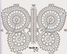 Ideas Crochet Rug Butterfly For 2019 Crochet Motifs, Crochet Diagram, Crochet Chart, Crochet Squares, Crochet Doilies, Crochet Flowers, Crochet Stitches, Crochet Patterns, Crochet Home