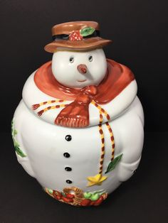 Teleflora Ceramic Snowman Jar Canister With Lid