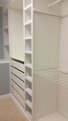 The ultimate Ikea PAX wardrobe hack! I used Ikea PAX to make custom built-ins fo. The ultimate Ikea PAX wardrobe hack! I used Ikea PAX to make custom built-ins for my master closet and the results are amazing. The closet is now beautifully organized. Ikea Closet Hack, Ikea Closet Organizer, Ikea Pax Wardrobe, Closet Hacks, Closet Storage, Closet Organization, Ikea Pax Hack, Organization Ideas, Bedroom Storage
