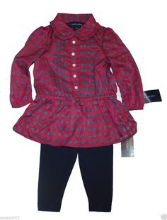 NWT Ralph Lauren Baby Girls 2 Pc Long Sleeves Top Paisley Tunic & Leggings Set #RalphLauren #Dressy