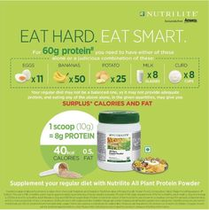 Eat Hard, Eat Smart (Nutrilite) for order contact me. Nutrilite Vitamins, Milk Curd, Bodybuilding Supplements, Eat Smart, Plant Based Protein, Natural Supplements, Nutritional Supplements, Protein Shakes, Weight Gain