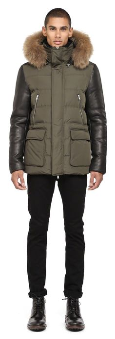 Mackage - GAVIN ARMY WINTER DOWN COAT FOR MEN WITH LEATHER SLEEVES AND FUR HOOD…