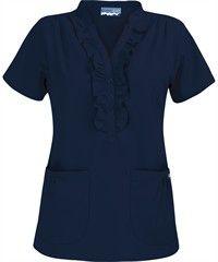 Butter-Soft Scrubs by UA™ Women's Ruffle Mandarin Collar Snap Front Scrub Top......Navy.  So feminine!!