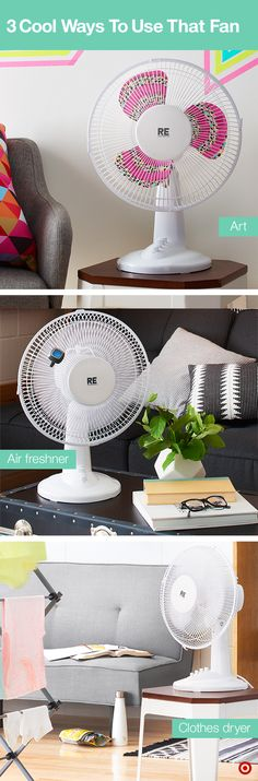 Fans are a college dorm room's best friend — and not just because they keep the room cool. Try one of these hacks. 1: Add some personality to the fan by covering it in colorful Washi tape. Turn it on and you've got moving art! 2: Add a clip-on air freshener to the fan and turn it on for a quick way to make the room smell extra nice. 3: Place the fan in front of your drying rack and that laundry will be dry in no time.
