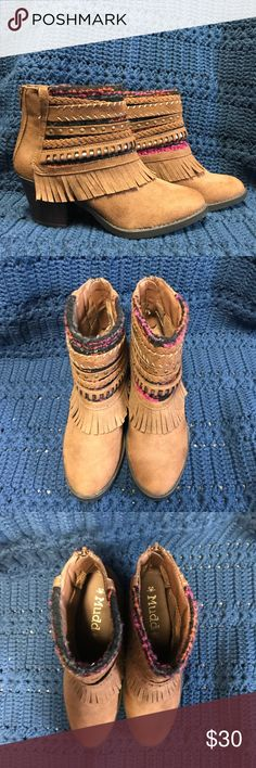 mudd boho boots worn once, like new! please note - they are darker than the picture appears (crappy fluorescent lighting). Mudd Shoes Ankle Boots & Booties