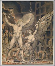 "William Blake (1757-1827), Satan, Sin and Death (Une Scène extraite du ""Paradise Lost"" de Milton) - 1808"