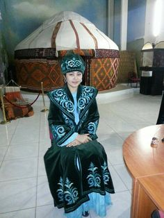 Asia - Kazakhstan, at the museum in a national Kazakh dress