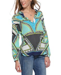 Olivaceous Notched Long Sleeve Blouse 118