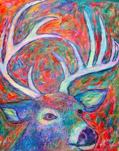 Antler Swirl Art 20x16 Acrylic Wildlife by TowheeHillStudio, $670.00
