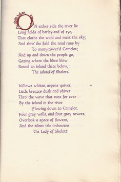 "The Lady of Shalott Poem | The text of ""The Lady of Shalott"", printed in purple."