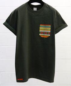 Men's African Ethnic Pattern, Dark Grey Pocket T-Shirt, Men's T- Shirt, Pocket tee, Unisex, Menswear, UK