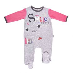 31ba70cfa926a Pyjama bébé velours gris chiné Smile girl - PETIT BEGUIN