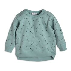 With a lovely soft greenish blue hue and allover tiny arrows, this sweatshirt is simply a must for all little ones this season.