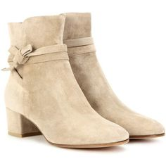 Gianvito Rossi Moore Suede Ankle Boots ($940) ❤ liked on Polyvore featuring shoes, boots, ankle booties, white, suede boots, suede bootie, white booties, gianvito rossi booties and short boots