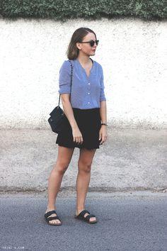 Fashion blogger Trini striped classic shirt black mini skirt birkenstocks